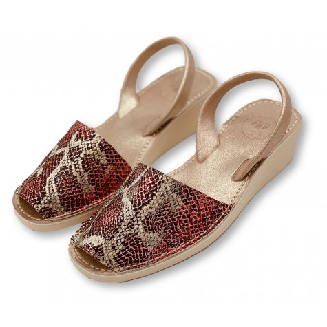 Mid Wedge Snake Leather