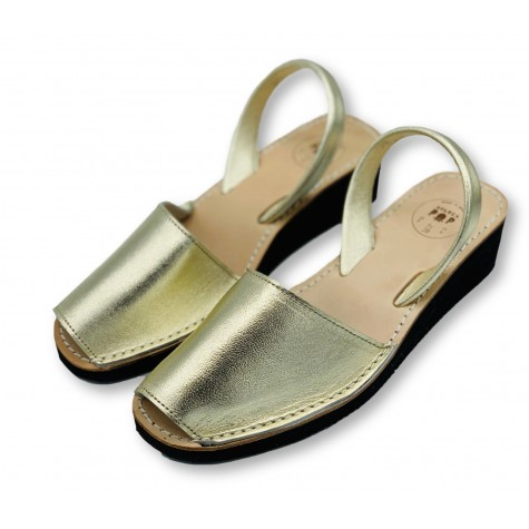 Mid Wedge Gold Leather