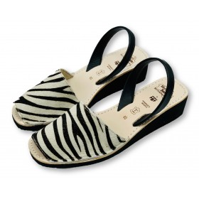 Mid Wedge Zebra Leather