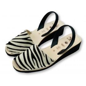Mid Wedge Zebra Leather