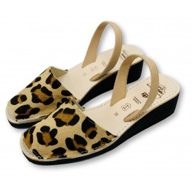 Mid Wedge Leopard Leather