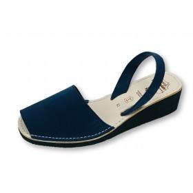 4c20e04cb5 Mid Wedge Navy Nubuck Sandals - Handmade in Menorca