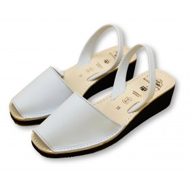 Mid Wedge White Leather