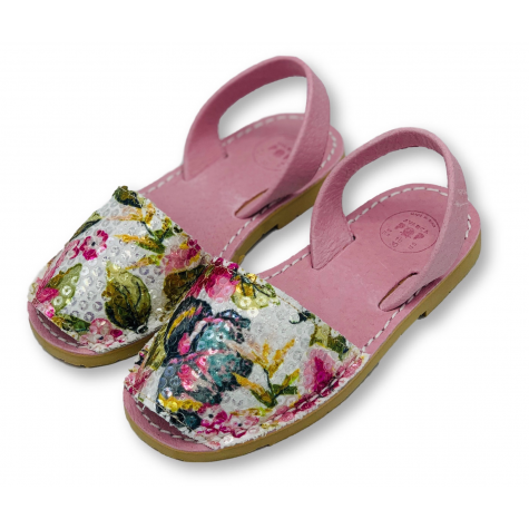 Kids Flat Pink Patterned Sequin Leather