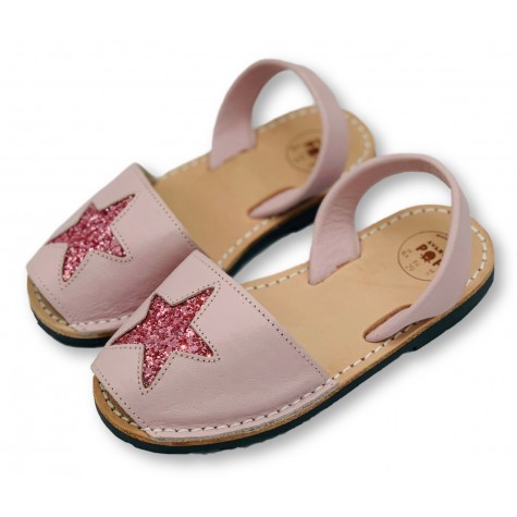 Kids Flat Pink Glitter Star Leather