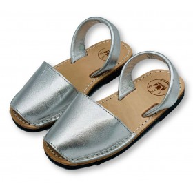 Kids Flat Silver Leather