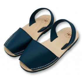 Kids Flat Navy Blue Leather