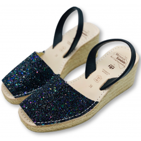 Espadrille Wedge Dark Glitter