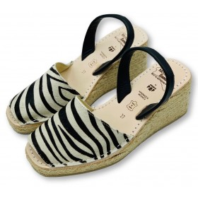 Espadrille Wedge Zebra Leather