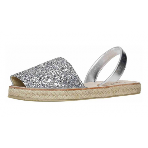 Espadrille Flat Silver Glitter